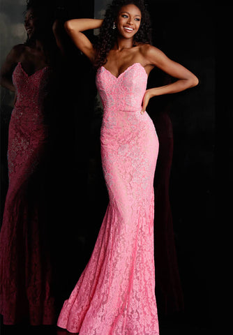 Jovani 37334 This beautiful, fitted, strapless lace dress features a sweetheart neckline. The top half of the trumpet dress is accessorized with rhinestones. Stretch nude lining with stretch lace overlay, heat set stones, form fitting, strapless. Available Sizes: 00,0,2,4,6,8,10,12,14,16,18,20,22,24  Available Colors: BLACK, BRIGHT PINK, DUSTY PINK, EMERALD, FUCHSIA, IVORY, LIGHT-BLUE, LILAC, MAUVE, NAVY, PERRIWINKLE, RED, ROYAL