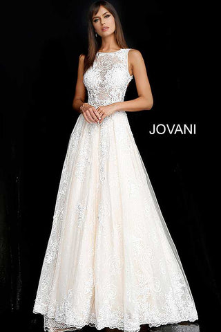 Jovani 37504 White Nude Embroidered Sheer Bodice Prom Dress