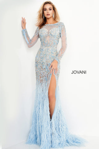 Jovani 37580 is a long Sheer Crystal Rhinestone Embellished Pageant Dress Featuring Long Sleeves and an open drop back. This backless formal evening gown has a Feather accented flared Skirt with a Slit. Lush sweeping train. Perfect Pageant Dress in light Blue or sexy formal party red carpet gown in black!  Available Sizes: 00-24  Available Colors: Black, Light Blue  Prom Dress, Pageant Gown, Mother of the Bride or Groom, Gala Dress, Red Carpet Gown