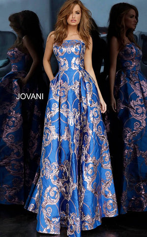 Jovani 3771 Metallic Shimmer Jacquard Ballgown Prom Dress Royal Evening Gown 2020