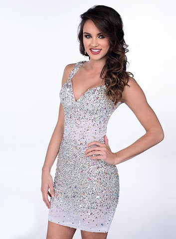 Envious Couture 3905 This is a short cocktail dress that is fully hand beaded throughout and features a sweetheart neckline with wide straps and an open back. Prom Dress Pageant Gown Homecoming Dress  Size 2 White