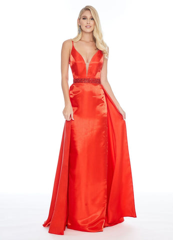 Ashley Lauren 1685 v neckline mermaid prom dress with overskirt