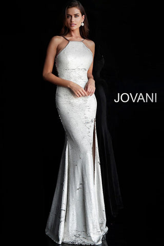 Jovani 63923 Silver/Pearl reverse sequins prom dress