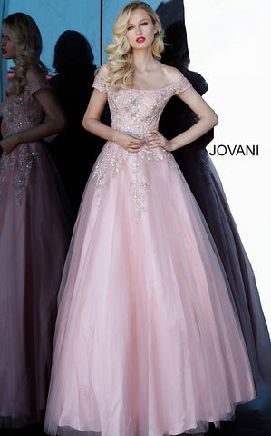 Jovani 3929 Blush Off the Shoulder Prom Evening Gown Ballgown Floral 2020