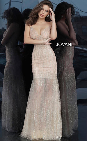 Jovani 3945 Blush Glitter Embellished Sexy Sheath Prom Dress Evening Gown Sheer 2020