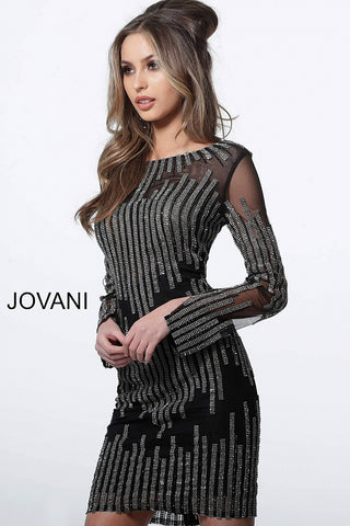 Jovani 3964 short fitted embellished long sleeve cocktail dress