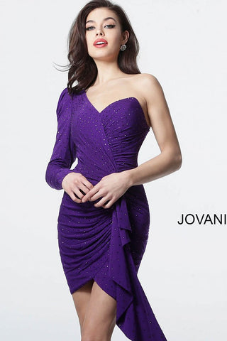 Jovani 3994 one shoulder sleeve ruched bodice short cocktail dress