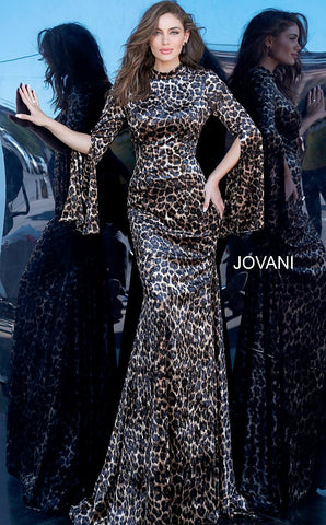 Jovani 3995 Animal Print Long Bell Sleeve Dress High Neckline Fit Flare Evening Gown