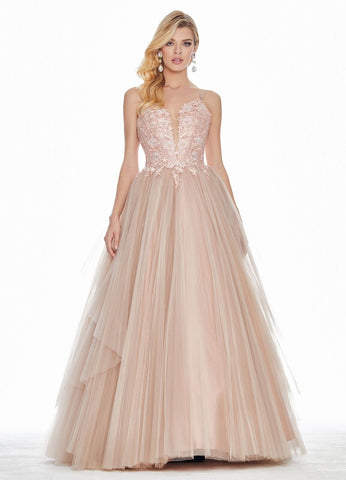 Ashley Lauren 1483 embroidered lace and tulle ball gown prom dress