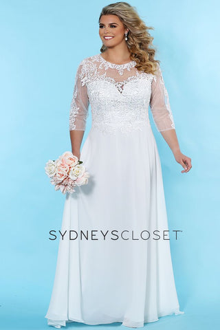 Sydney's Closet SC 5232 This beautiful plus sized wedding dress has a sheer lace neckline and back with sheer lace three quarter sleeves.  This bridal gown has an A line long flowy skirt with a sweeping train. Available colors:  Ivory  Available sizes:  14-40