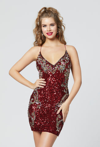 Primavera Couture 3301 short beaded homecoming dress