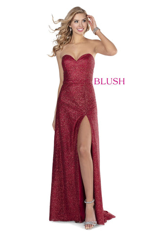 Blush Prom Dress 11910 Long Fitted Glitter Shimmer Gown 2020 Slit Strapless Sweetheart