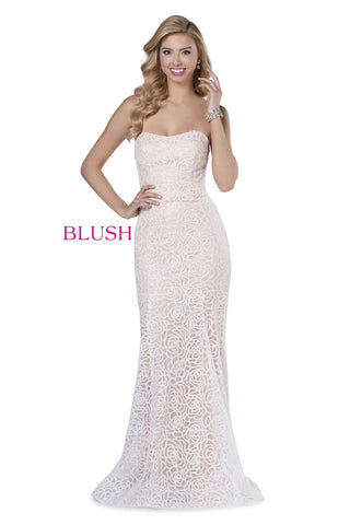 Blush Prom Dress 11908 Long Fitted 2020 Prom Dress Glitter Strapless Sweetheart Gown