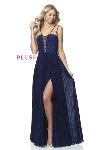 Blush Prom Dress 11907 Long Iridescent Shimmer Pleated 2020 Evening Gown Plunging