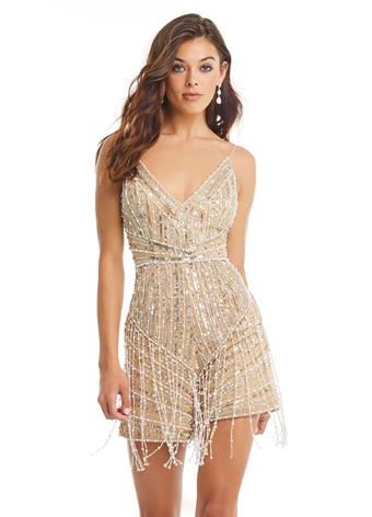 Ashley Lauren 4391 beaded sequins short romper with fringe v neckline pageant wear  Available colors:  Gold  Available sizes:  0-18  Rock the runway in this intricately beaded romper. The V-Neckline is beaded in an intricate pattern designed to accentuate your curves. The same intricate bead pattern is continued onto the shorts. The romper is embellished with fringe detail. Fully Beaded V-Neckline Adjustable Spaghetti Straps Fringe