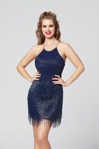 Primavera Couture 3319 crew neckline fitted fringe cocktail dress