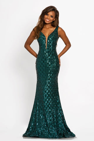 Johnathan Kayne 2248 This is a long sequin power mesh mermaid prom dress.  This evening pageant gown has a plunging v neckline with mesh panel and a mid v back.  The long mermaid skirt has a sweeping train.  Color  Teal  Sizes  00, 0, 2, 4, 6, 8, 10, 12, 14, 16, 18