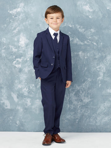 Boy's 5 Piece SLIM FIT Tuxedo Set - Ink Blue 4016
