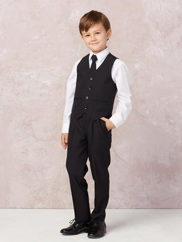 Boy's 5 Piece SLIM FIT Tuxedo Set - White 4016