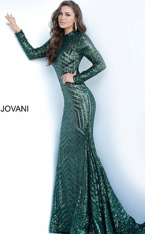 Jovani 4060 is a long sleeved Prom, Pageant & Formal Evening Wear Dress. Featuring a fully sequin embellished fabric with a stunning geometrical pattern. High modest neckline & Long sleeves for full coverage. Keyhole Cutout open back. Lush skirt with yards of extra material and a small train. Perfect for the stage or any Formal event! Great Holiday dress!  Available Colors: Hunter (Green), Rose Gold  Available Sizes: 00,0,2,4,6,8,10,12,14,16,18,20,22,24