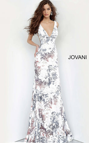 Jovani 4074 is a Long Fitted Prom Dress Featuring a Stunning Embellished Sequin Print Fabric. V Neckline with open V Back. Sheer Mesh Side Panels. Full Cascading Skirt & Train. This Evening Gown is an Absolute Show Stopper. Perfect Pageant Gown or Formal Wear.  Available Colors: White/Multi  Available Sizes: 00-24
