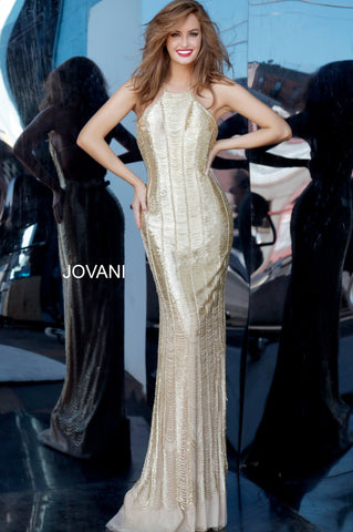 Jovani Couture 4076 Long Gold High Neck Dress Fringe Flapper Gown High Neck Red Carpet Backless Beaded Glass Slipper Formals