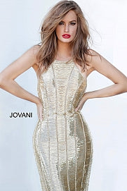Jovani Couture 4076 Long Fitted Beaded Dress Tassel Fringe Evening Gown Gold