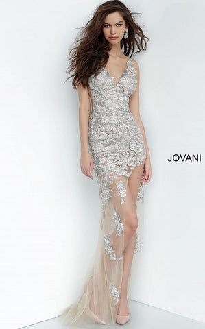 Jovani 4083 is a Sheer Taupe Fitted High Low Sheath Prom Evening Dress with Floral Appliques. V neckline with sheer panel cutouts along the sides and open V Back. Embroidered Silver Appliques give a 3d look.  Available Sizes: 00,0,2,4,6,8,10,12,14,16,18,20,22,24  Available Colors: Taupe