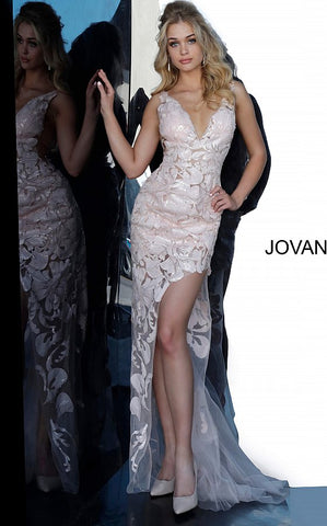 Jovani 4084 Sheer Illusion Sequin Appliques Floral Lace Sheath Prom Pageant Evening Dress. Pageant Evening Formal Wear  Sequin appliques sheer fabric, sheath silhouette, high low skirt with small train, sleeveless bodice with side sheer mesh inserts, plunging V neck, V back. Long high-neck sleeveless sheer open v-back v neckline prom dress with sequin appliques by Jovani.  Available Colors: black, forest, hot-pink, light-blue, red, rose/gold, royal, white, yellow Available Sizes: 00 - 24