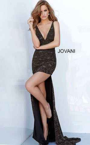 Jovani 4085 plunging neckline bodycon prom dress with wide slit