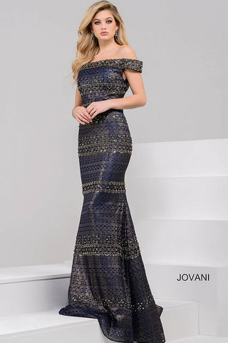 Jovani Navy and Gold off the Shoulder Beaded Long Dress 40872