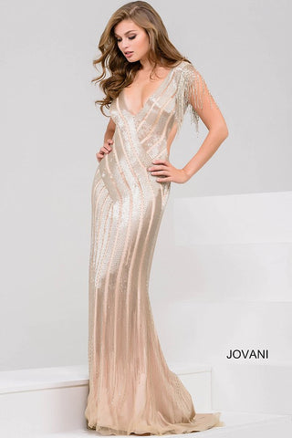 Jovani Nude and Silver Beaded Open Back Dress 40900