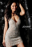 Jovani Nude Beaded Criss Cross Back Short Dress 40928