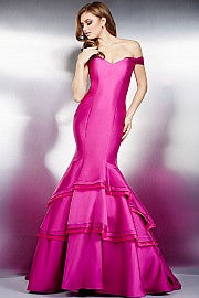 Jovani 31100  This fitted, off the shoulder mermaid prom dress features dramatic layers and tiered mermaid skirt and a small train which is perfect for your next pageant.  Available colors:  black, blush, burgundy, fuchsia, hunter, lip stick, navy, orchid, red, royal, stone, turquoise, white, yellow  Available sizes:  00, 0, 2, 4, 6, 10, 12, 14, 16, 18, 20, 22, 24