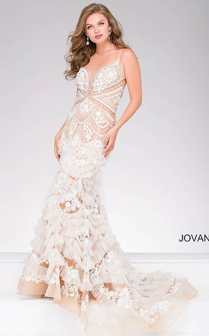 Jovani 41592 sleeveless embroidered tulle mermaid gown in ivory/nude, navy/nude