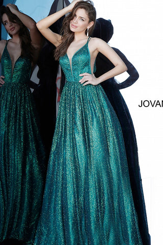 Jovani 4198 Long Embellished Ball Gown Prom Dress Shimmer Glitter Iridescent 2020