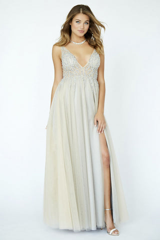 Jolene Collection 19037 Long Tulle Sheer Illusion Slit Prom Dress V Neck Maxi Embellished