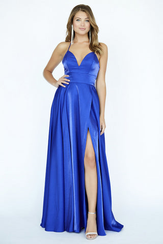 Jolene Collection 19065 Shimmer Satin Maxi Slit Prom Dress Empire V Neck halter
