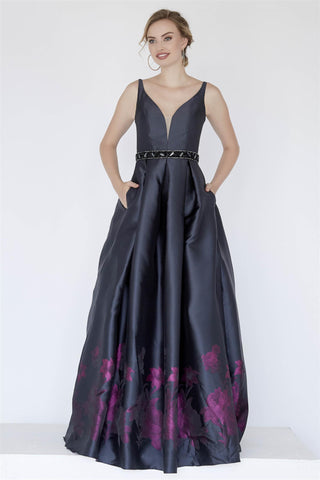 Jolene Collection 18070 Size 12 A Line Black Floral Prom Evening Dress V Neck