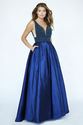 Jolene Collection 19002 Long Beaded Pleated Ballgown Navy Pockets Prom Dress