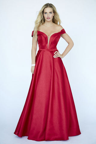 Jolene Collection 19084 Red Off the Shoulder Princess Ballgown Prom Dress Pockets