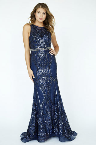 Jolene Collection 19017 Navy Size 14 Prom Dress Pageant Gown
