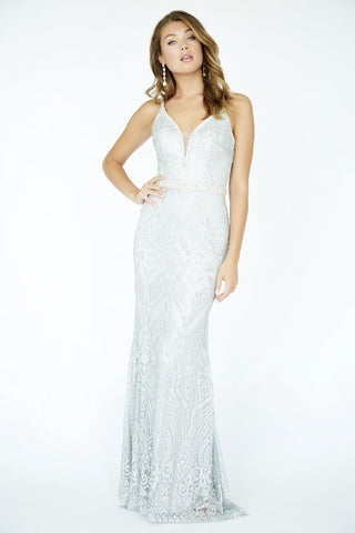 Jolene Collection 19020 Silver Embellished Fitted Prom Dress Glitter Lace Gown Long