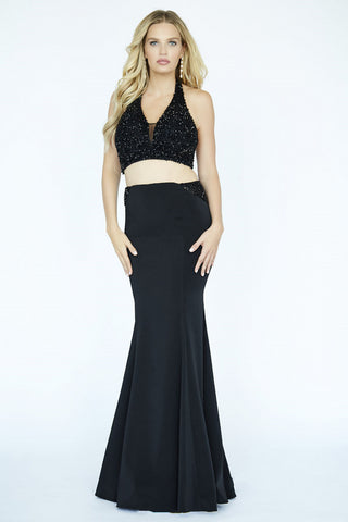 Jolene Collection 19095 Black Size 00 Prom Dress Pageant Gown  Two piece gown.  Silky crepe fabric.  Embellishing top with black stones.  Mermaid slim fitting skirt.