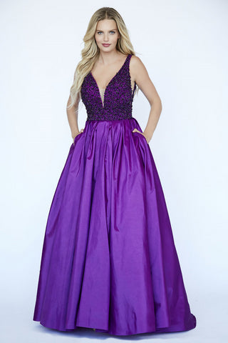 Jolene Collection 19004 Embellished Pleated Taffeta Prom Dress Plunging Neckling