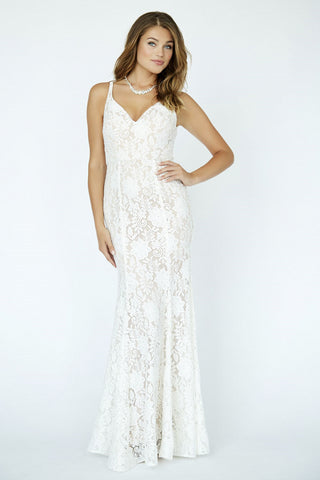 Jolene 19091 Size 12 Long Lace Embellished Wedding Dress Destination V Neck