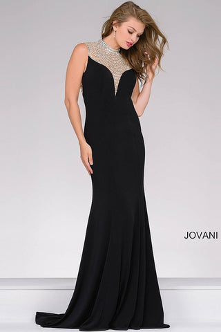 Jovani 42240 long jersey pageant gown size 4 black prom dress