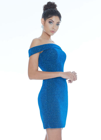Ashley Lauren 4240 off the shoulder straight neckline fitted glitter short cocktail dress homecoming dress pageant wear. Dazzle in this metallic scuba cocktail dress. The off the shoulder neckline perfectly frames your face while the fitted skirt accentuates your curves. Glass Slipper Formals