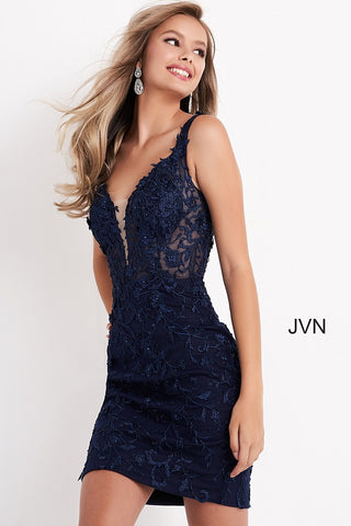 Jovani JVN 4270 lace fitted short Sheer cocktail dress with plunging neckline and sheer mesh panel with a scoop back homecoming dress. Elaborate Floral Lace Appliques cascade over the edges of the bodice & Straps. Sheer backless scoop back. Plunging Neckline. Formal evening Gown. Homecoming, Wedding guest, Prom, Pageant & almost any formal event! JVN4270  Glass Slipper Formals Navy, Blush