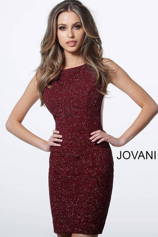 Jovani 42863 Fitted Glitter Backless Cocktail Dress